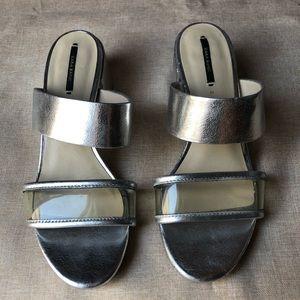 Zara Metallic Silver Clear Block Heel Sandal